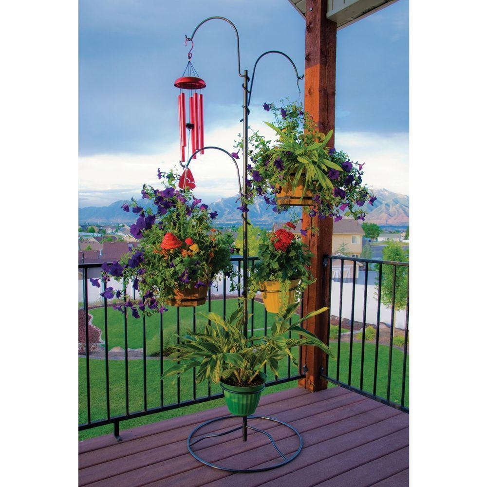 Hanging Outdoor Plant Stand Patio Baskets Holder Flower Planter Garden Deck Hanging Garden Plant Stands Outdoor Patio Flowers