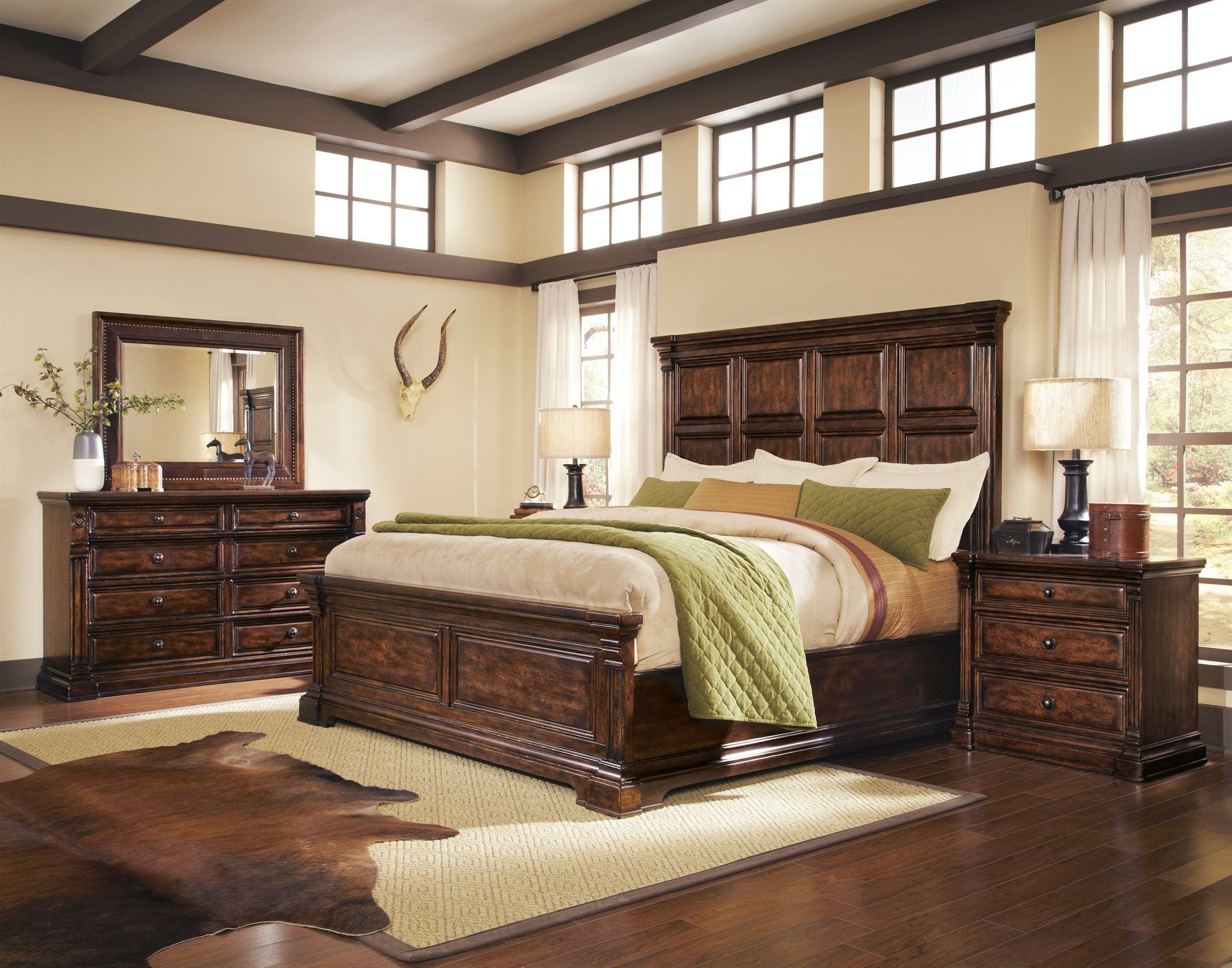 Art furniture whiskey oak bedroom set set master