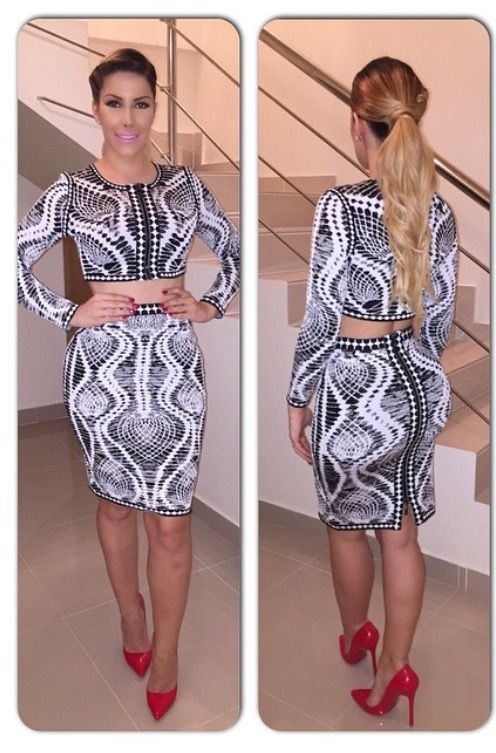 By far one of my favorite black-and-white print two piece dress
