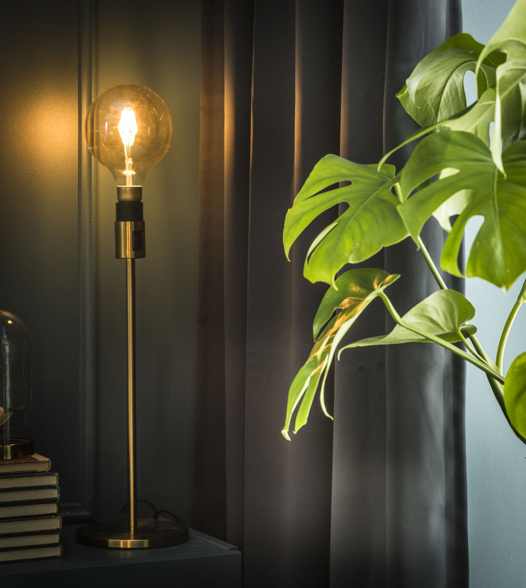 LUNNOM Led-lamp E27 400 lumen, dimbaar, globe bruin helder glas ...