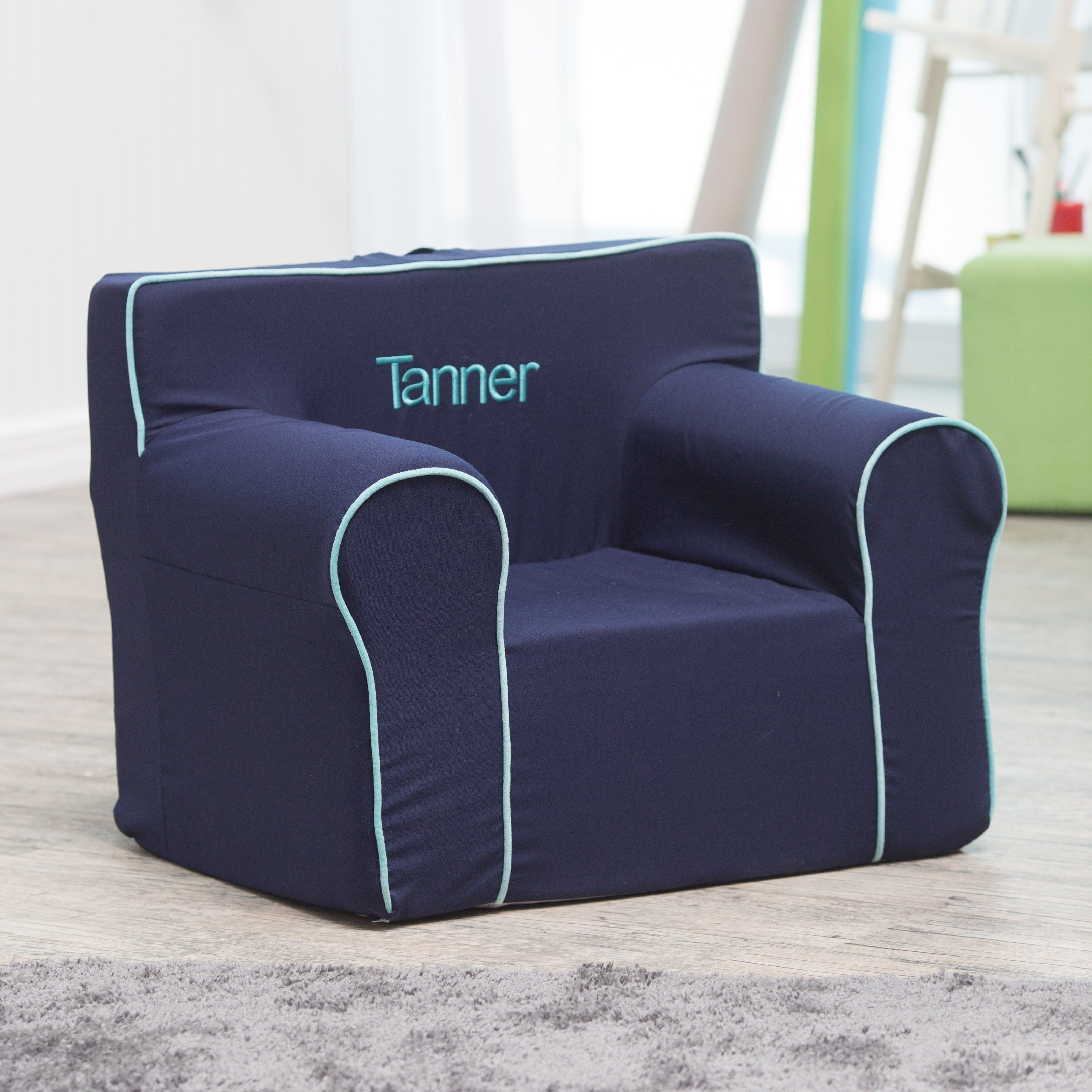 Here And There Personalized Kids Chair Navy Canvas With Teal Piping Www Hayneedle Com Personalized Kids Chair Kids Chairs Personalized Chairs