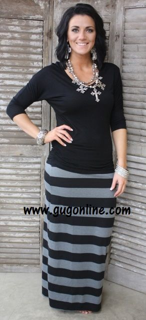 Line By Line Striped Maxi Skirt in Black and Gray- NOW IN PLUS ...