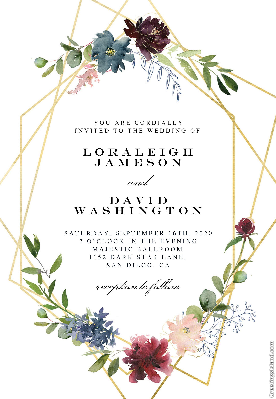 2 Geometric Flowers Wedding Invitation Template Set Rsvp Etsy Wedding Invitation Layout Flower Wedding Invitation Housewarming Invitation Templates