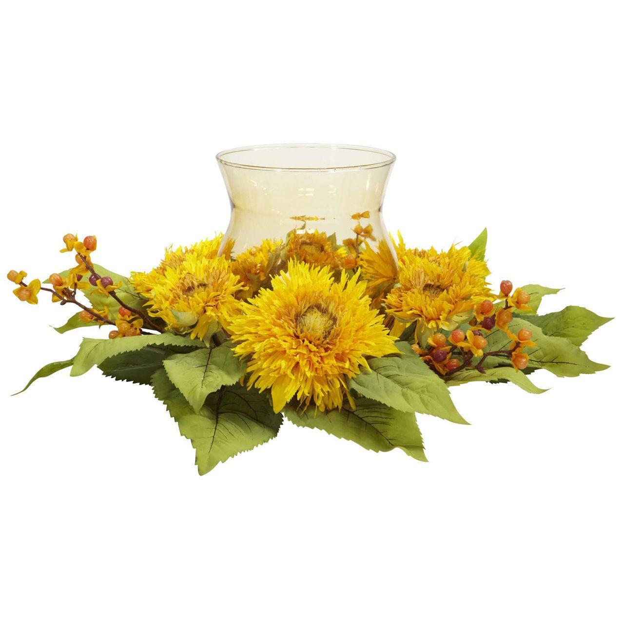BlueBerry Creek Gift Baskets - Golden Sunflower Decorator Silk Flower Arrangement Candelabrum Centerpiece, $44.95 (http://www.blueberrycreekgiftbaskets.com/golden-sunflower-decorator-silk-flower-arrangement-candelabrum-centerpiece/)