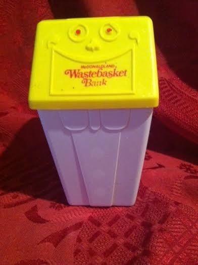Vintage McDonald's Smiley Face Waste Basket Bank Trash Can COIN PIGGY TOY LAND #McDonalds