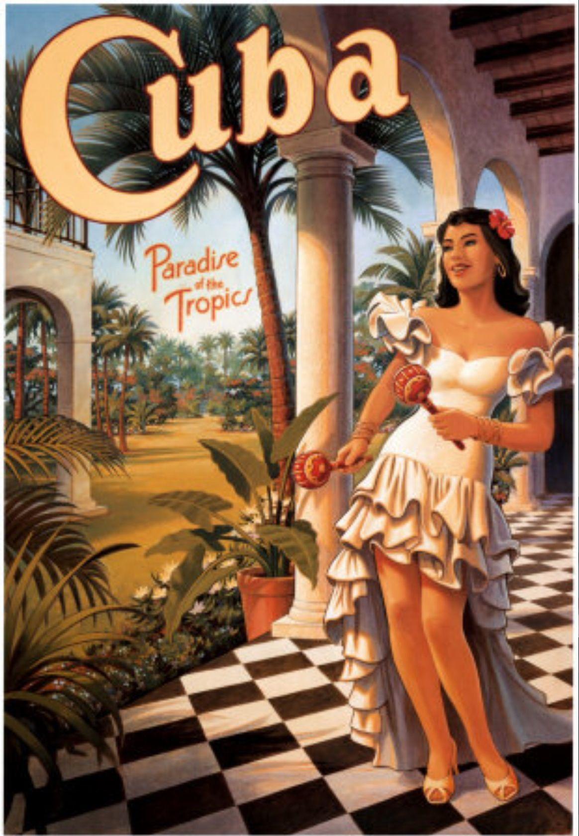 Vintage Travel Poster. Cuba Art