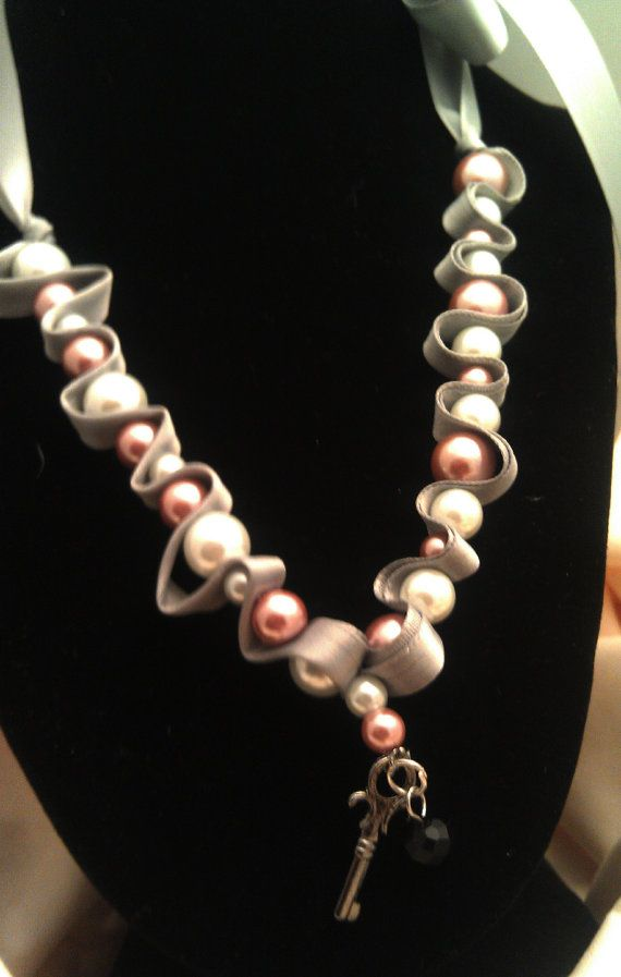 Glass pearl beaded necklace  Brown and white by AlyxAndreaDesign, $10.00