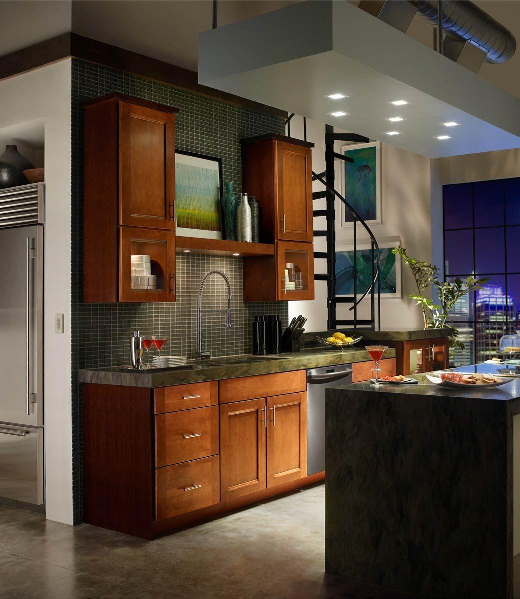 waypoint living spaces style 420 in maple auburn glaze glazed kitchen cabinets kitchen on kitchen interior small space id=87187