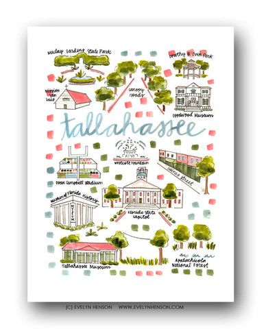 Map Of Tallahassee Florida.Tallahassee Fl Print Evelyn Henson My Very Own Home Map