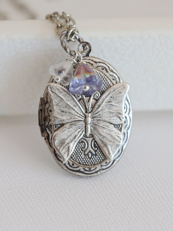 silver etsy il violet gift locket dark market lockets holiday picture tone butterfly