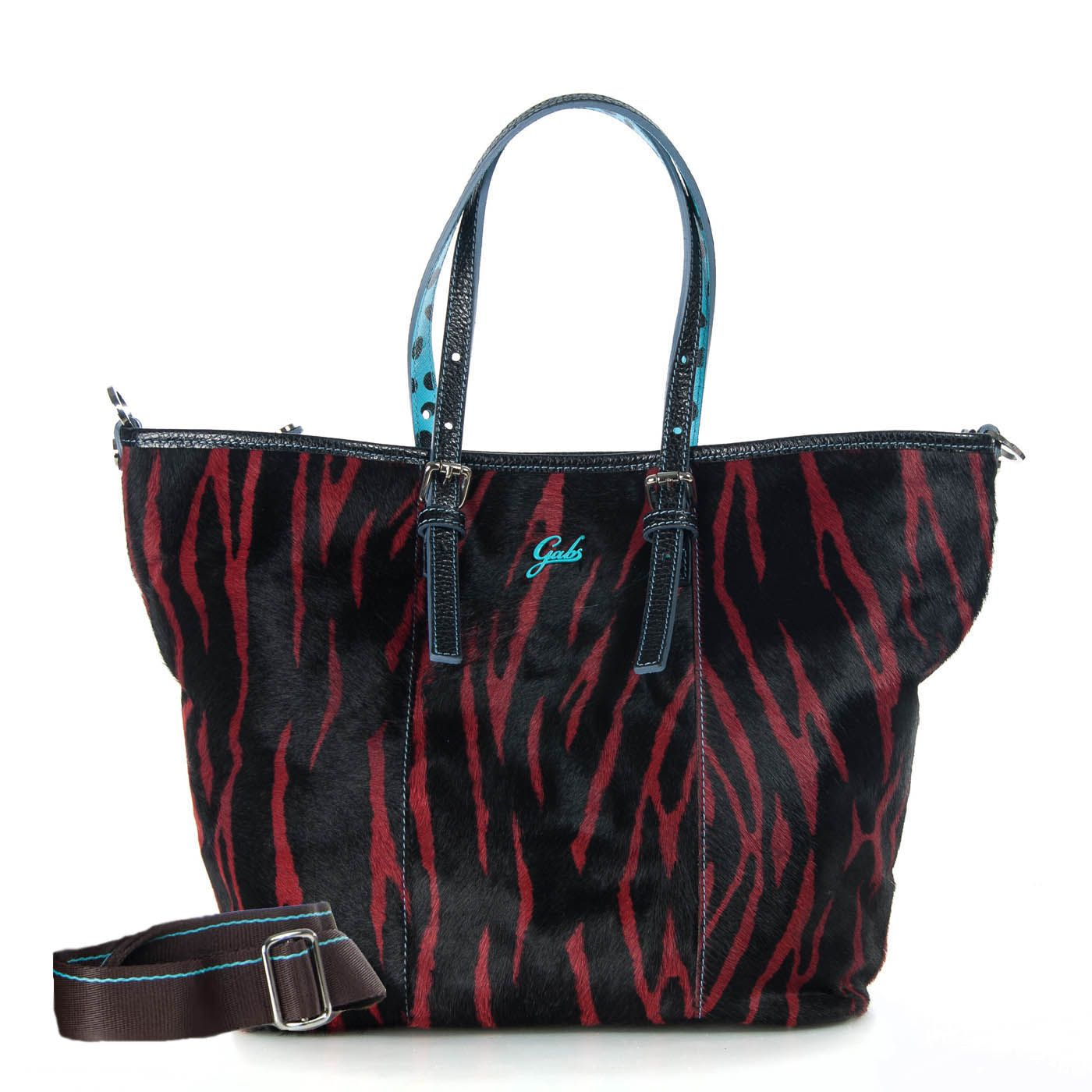 534729bec5 Gabs animal print ponyskin transformer handbag- one side with animal print  ponyskin and the other side plain black genuine leather