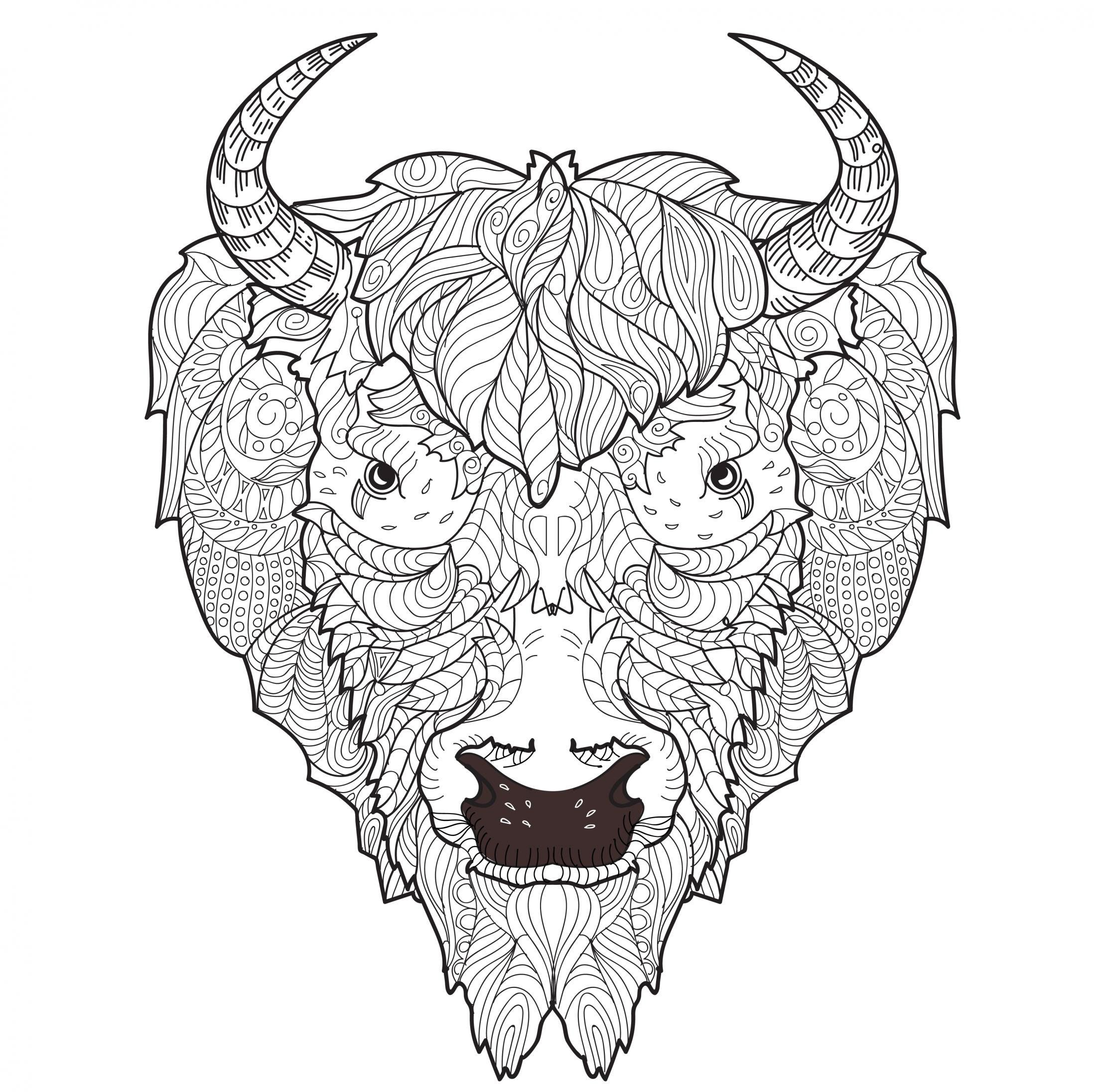 Coloriage tete de bison for Bison coloring pages