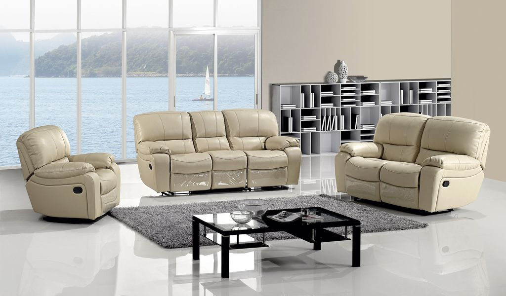 Modern Tan Leather Dual Reclining Sofa Set Loveseat Recliner Living