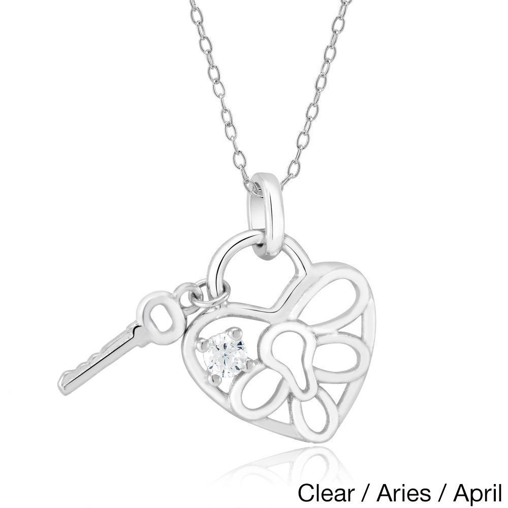 Beverly Hills Sterling Silver Cubic Zirconia Heart Lock and Key Pendant Necklace (Clear/Aries/April), Women's, Size: 18 Inch, White
