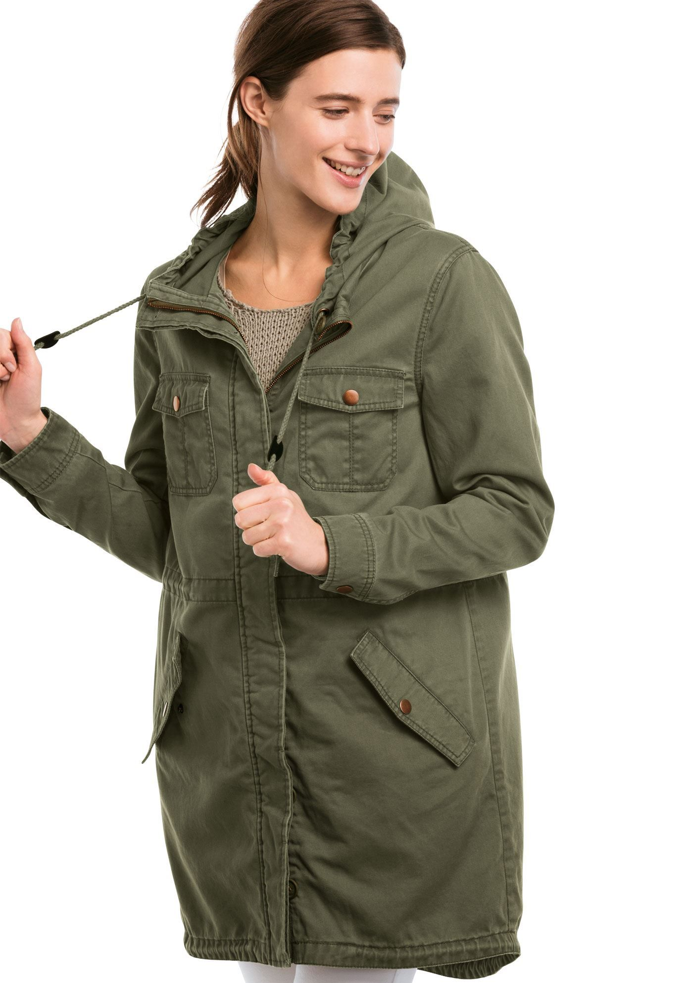 224c907b039 Ellos Hooded Twill Anorak Jacket - Women s Plus Size Clothing ...