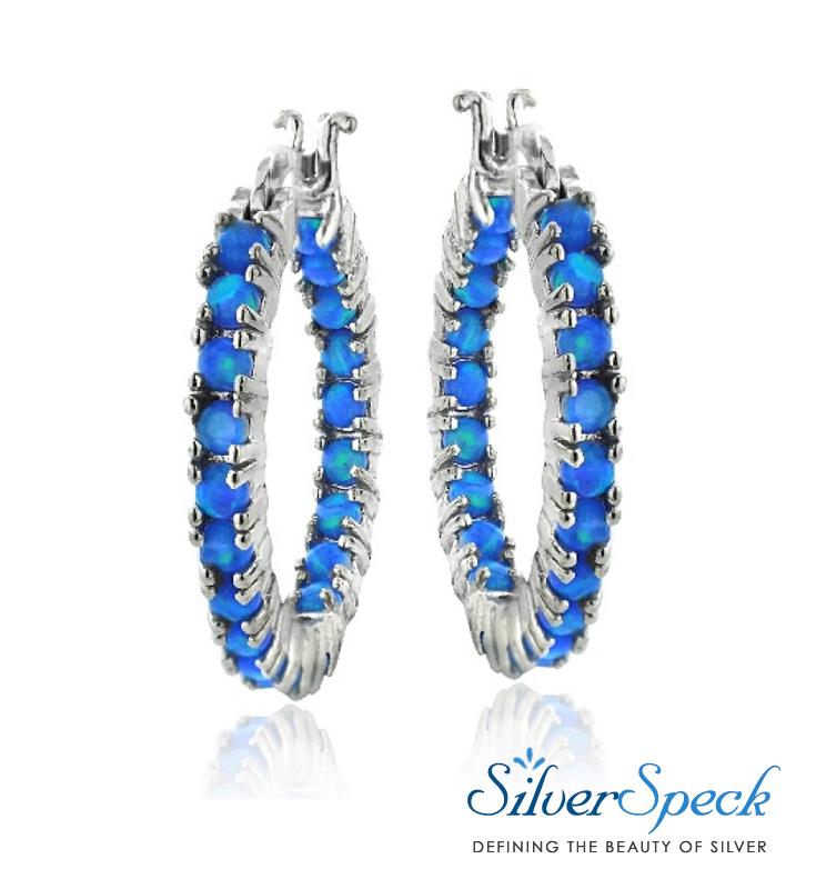 8828692dcb767 $32.99 Sterling Silver Blue Opal Inside Out Hoop Earrings Round ...