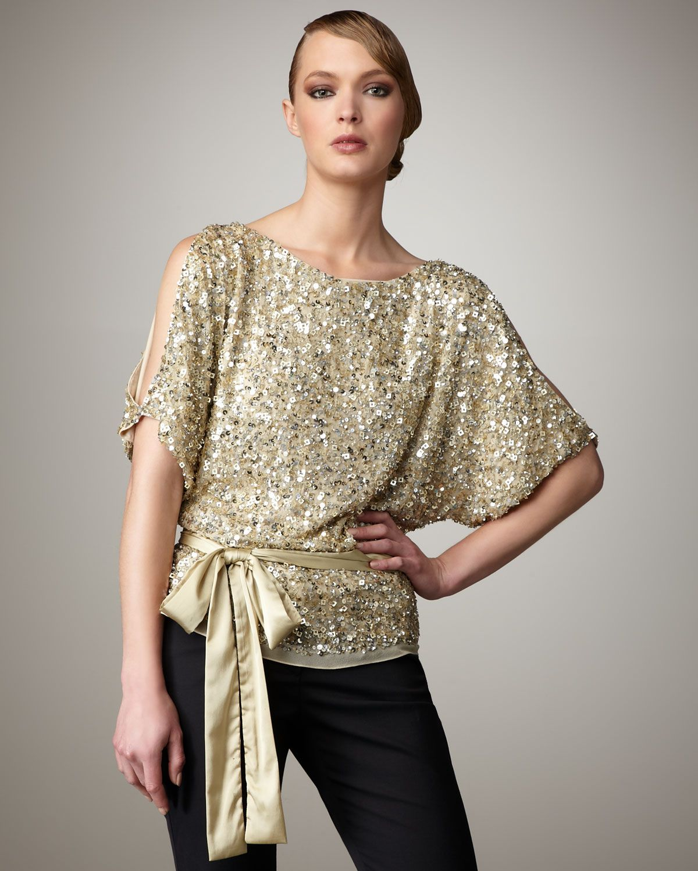 bbb1b20794d925 Women's Metallic Cold Shoulder Sequin Top | Classy cocktail wear ...