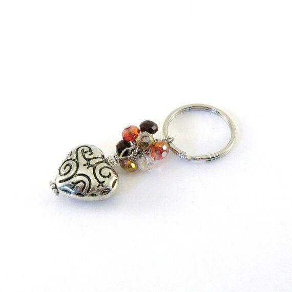 Orange Heart Keychain Brown Gold Puffy Heart $12.00