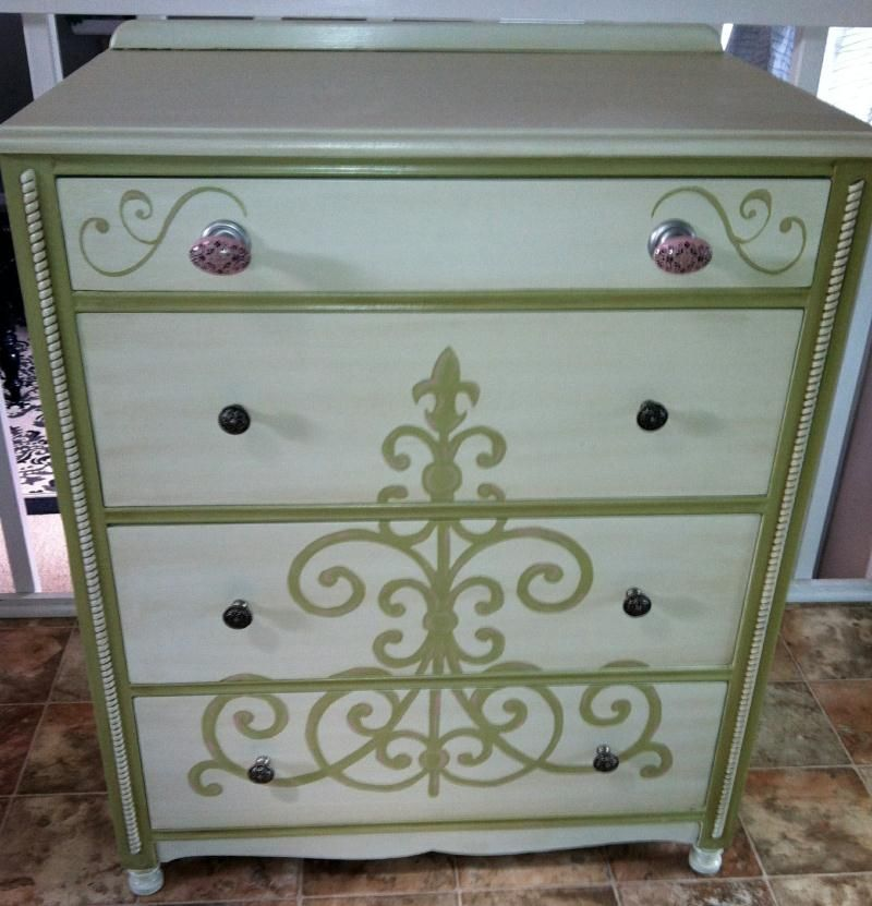 Beautiful Refinished Antique Dresser Done In Creamy White