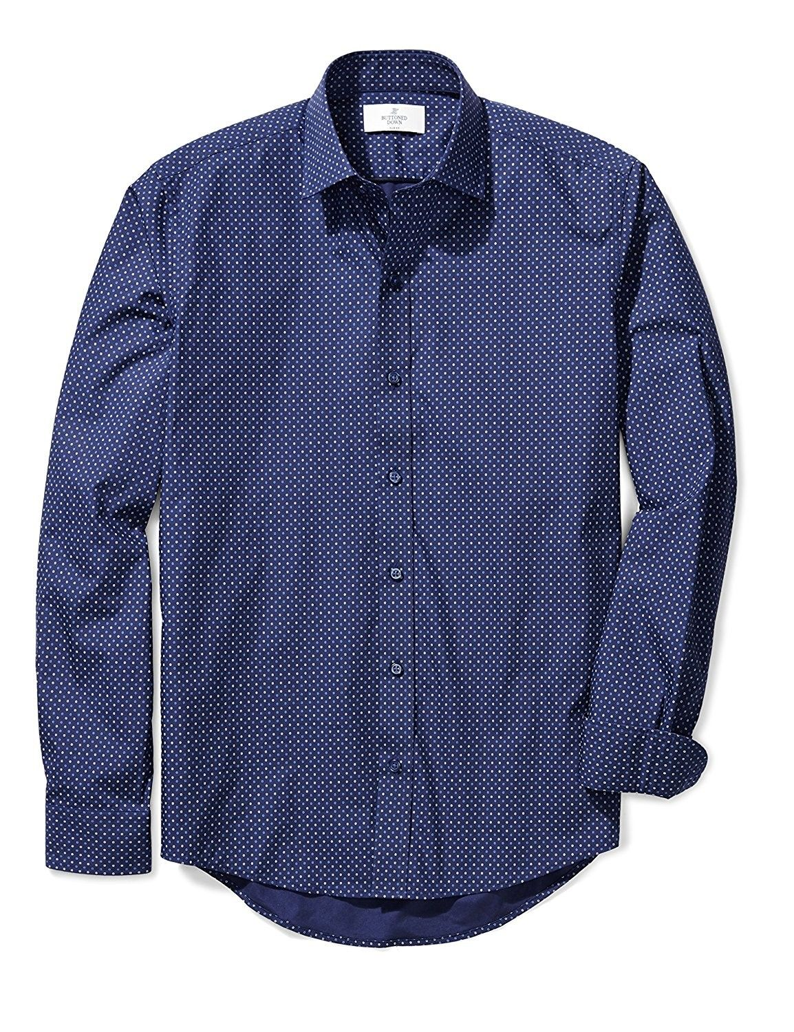 Mens Slim Fit Spread Collar Sport Shirt Without Pocket Navyblue