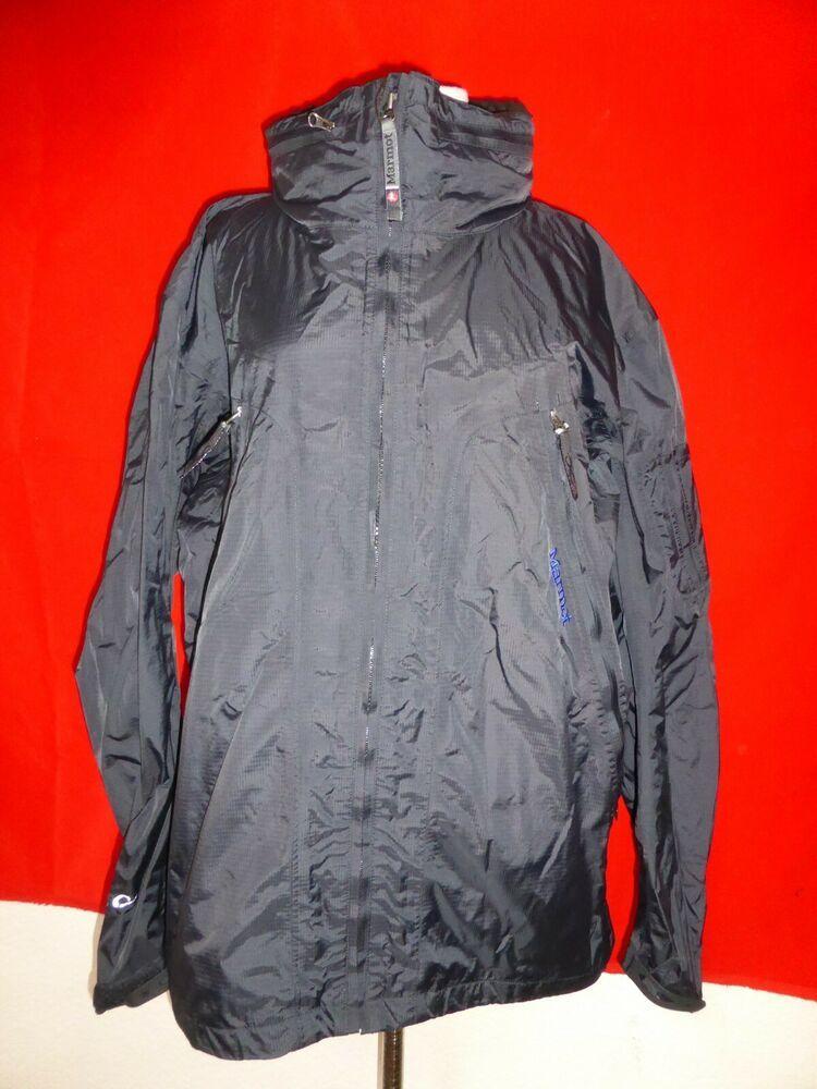 Marmot mens rain jacket coat hooded black sz l large