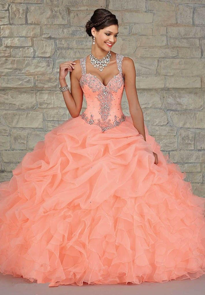 L77-Peach-Color-Quinceanera-Dress-Ball-Gown-Ruffles -Organza-Crystals-Beaded-Covered-Back-Sweet-16-Party (1) c24294a97488