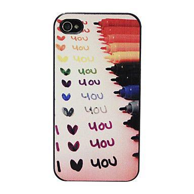 """Relief """"Jeg elsker dig"""" mønster hårdt tilfældet for iPhone 4/4S (Multi-farve) – DKK kr. 19"""