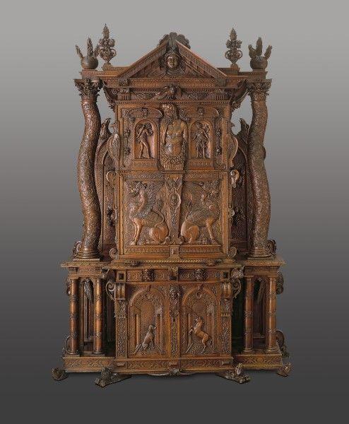 Franz pergo basel dated 1619 walnut cabinet from - Armarios antiguos baratos ...