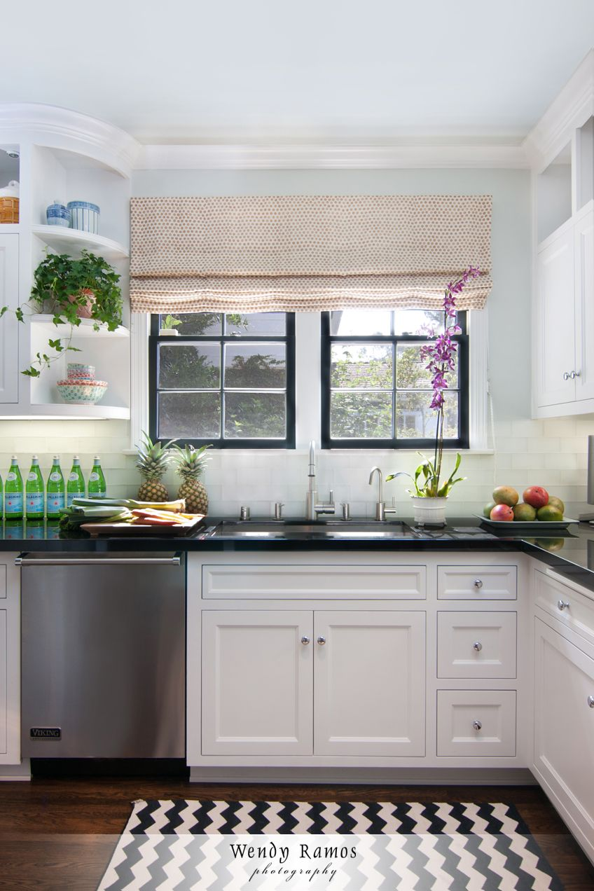 Kitchen sink window decor  black and white kitchen also like the long drawer under the sink