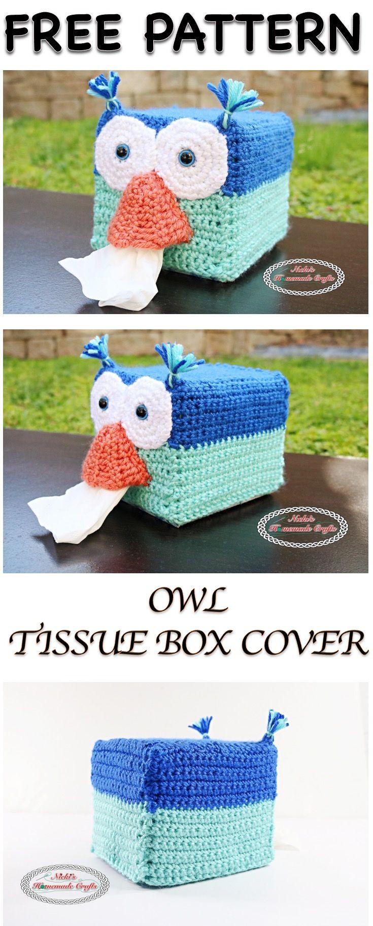 Owl Tissue Box Cover - Free Crochet Pattern | Pinterest | Häkeln ...
