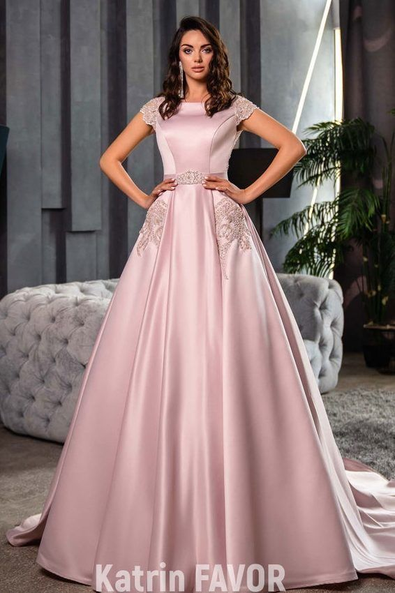 Katrina Satin Modest Prom Dress with Cap Sleeves and ...