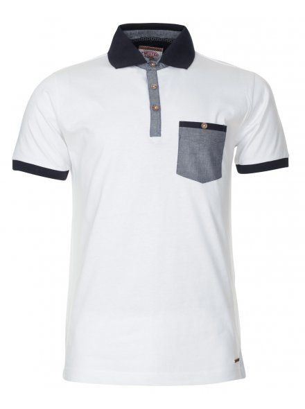 MENS WHITE CONTRAST TRIM POLO SHIRT (£12.99)