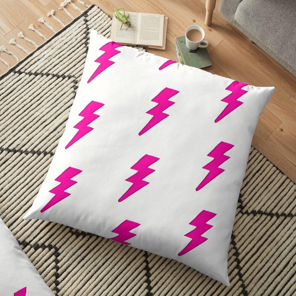 'Hot Pink Lightning Bolt' Floor Pillow by Redbubbleuser16
