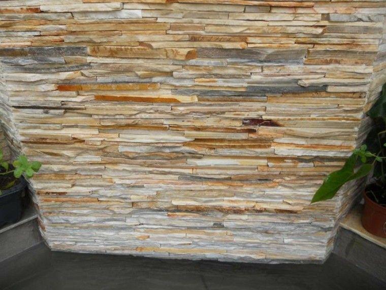 Revestimiento de paredes exteriores con piedra plana for Piedras para patios exteriores