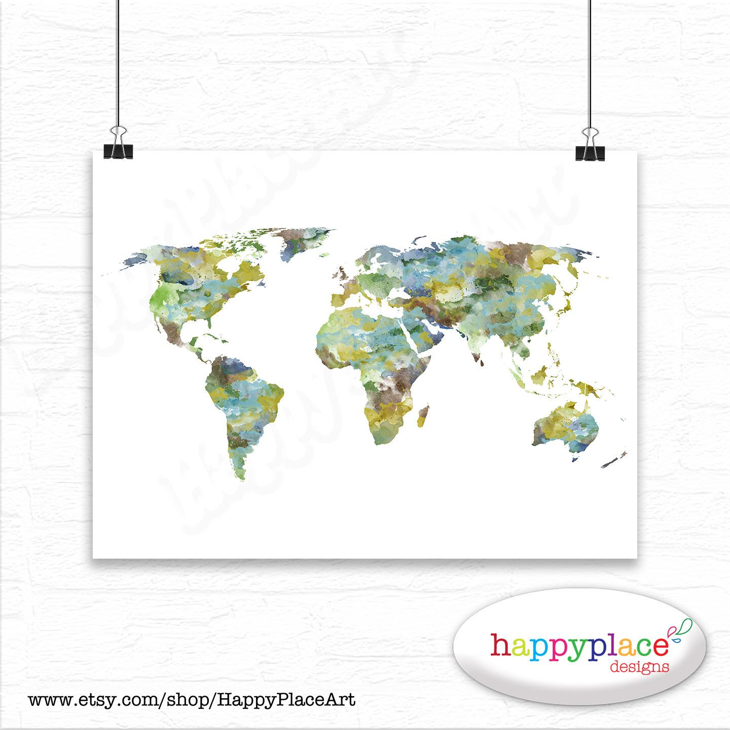 Large world map canvas print or printable personalise it with a large watercolor world map print or printable choice of colours text size gumiabroncs Gallery