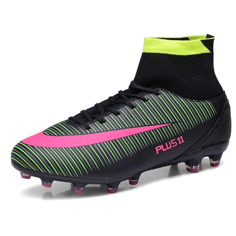 6b71980b18c1a New Men Boys Youth Outdoor Soccer Cleats Shoes High Ankle TF FG Sole ...