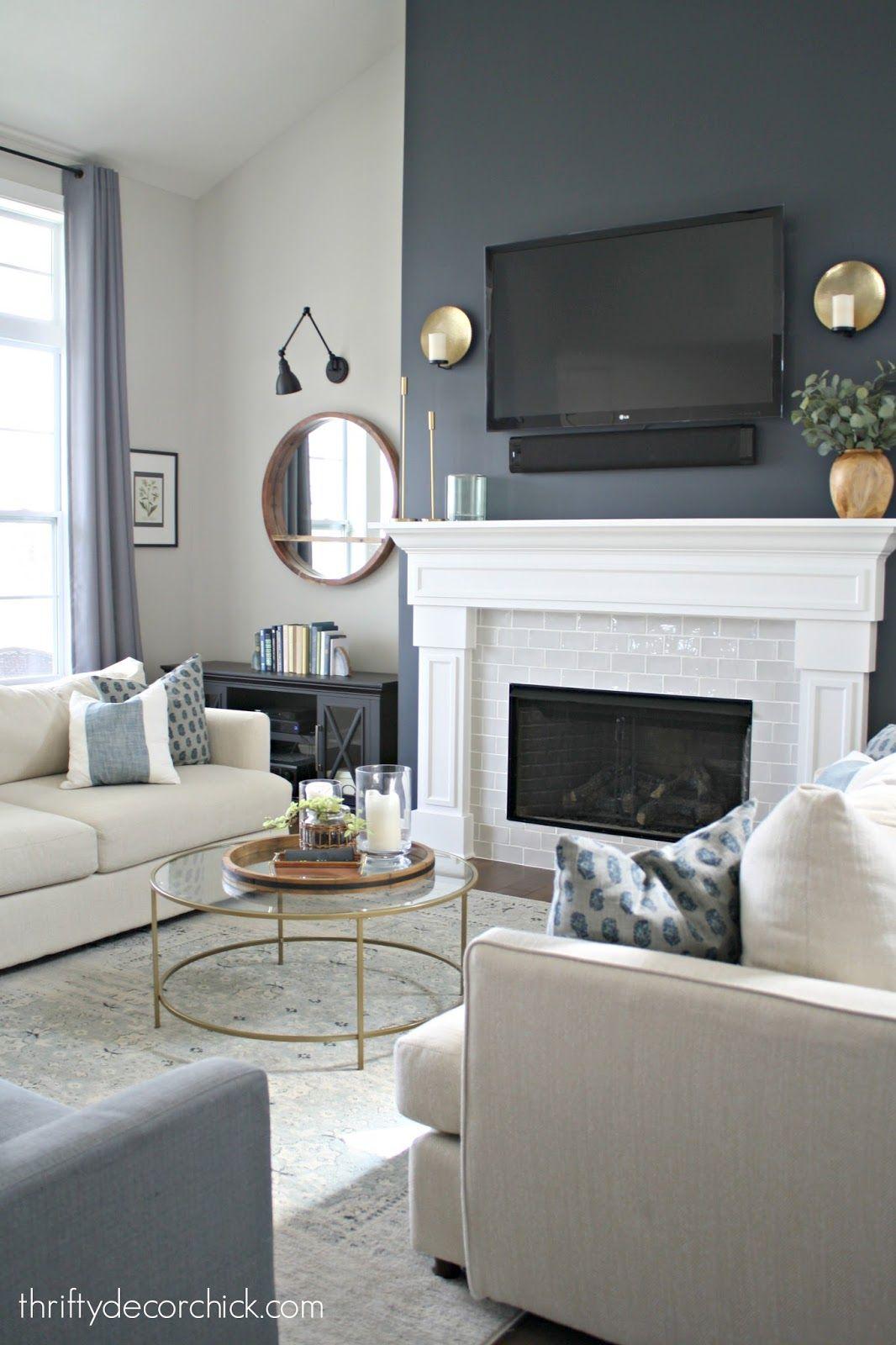 Tall Fireplace Wall Transformation With Paint Feature Wall