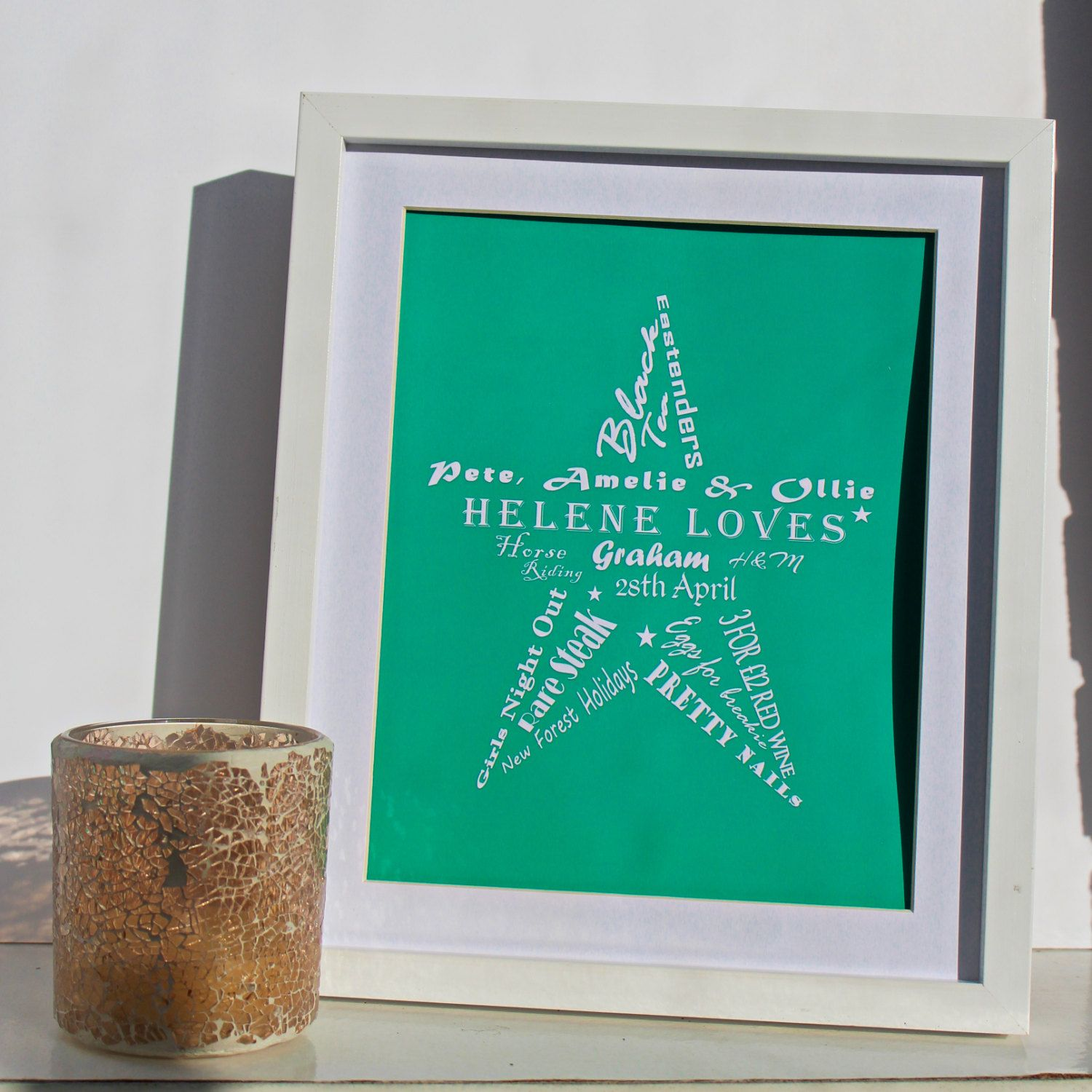 Unique personalised word star; perfect gift for girlfriend