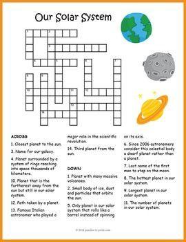 No Prep Solar System Activity Crossword Puzzle Worksheet Solar System Worksheets Solar System For Kids Solar System Lessons