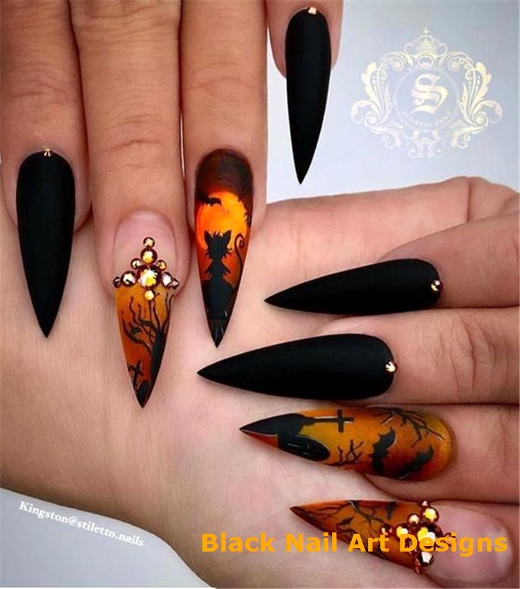20 Simple Black Nail Art Design Ideas 1 | Halloween nail ...