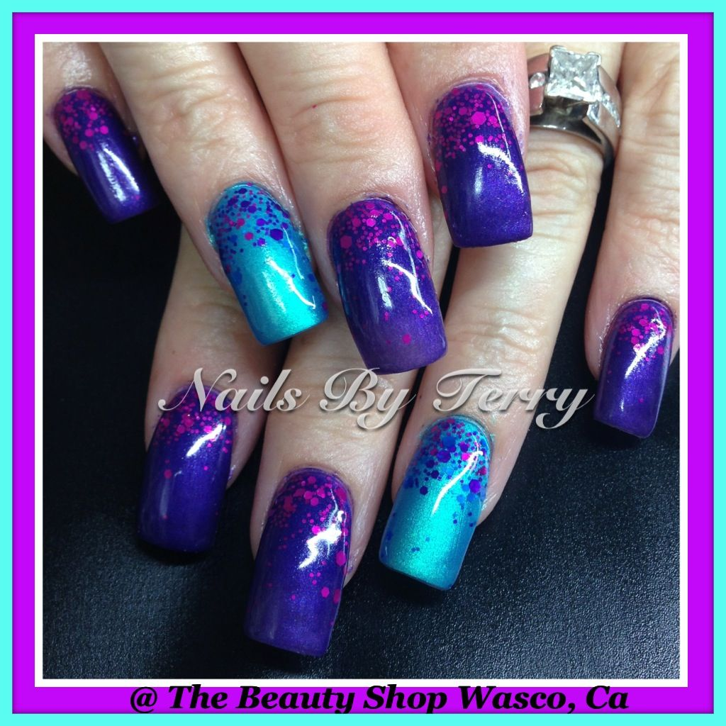 Purple And Turquoise Eyeshadow Gel Nails