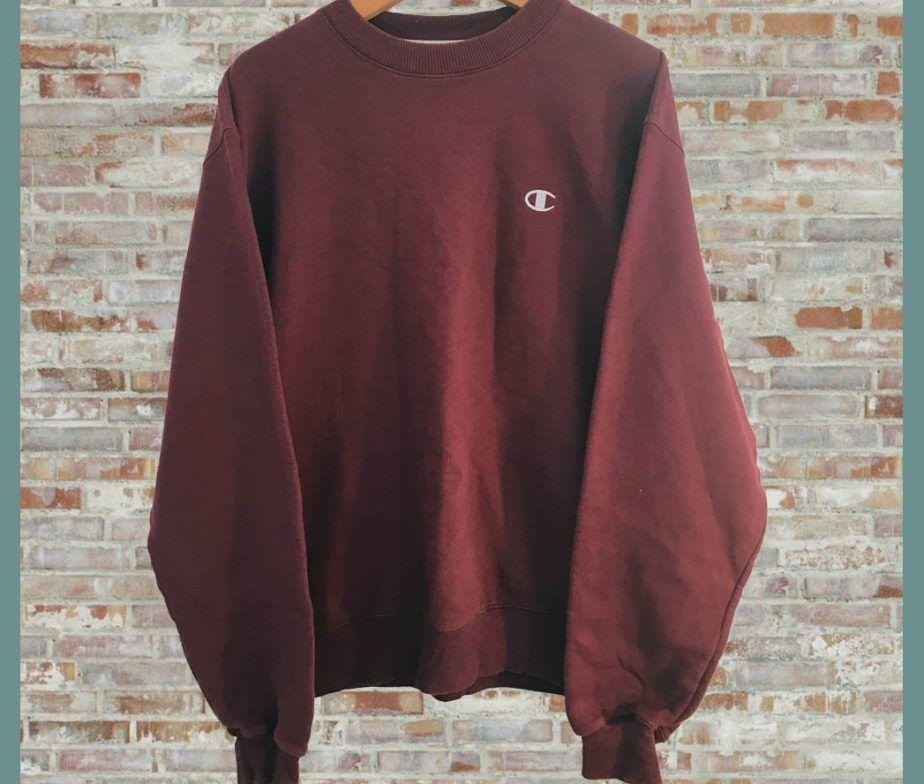 Vintage Champion Crewneck Sweatshirt Maroon | Pullover in