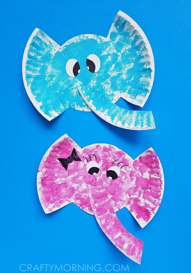 paper plate elephant kids craft