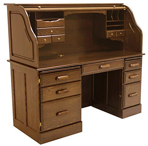 Solid Oak Rolltop Computer Desk in Briar Finish - In Stock - http://www.homeandofficeproducts.com/solid-oak-rolltop-computer-desk-in-briar-finish-in-stock/