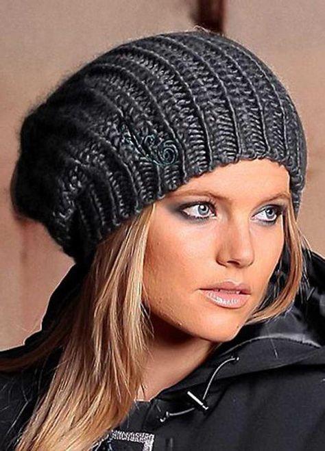 Женская шапка английской резинкой спицами схема фото 237