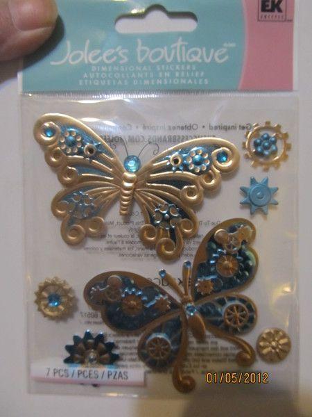 Jolee's Boutique 3D Steampunk Butterflies Scrapbooking Stickers