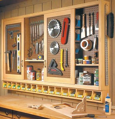 Attractive Perfect For Our Workroom Off The Garage: Build An Organized Pegboard Tool  Cabinet And Simple Workbench Love The Little Cubbies Under The Hanging  Cabinet For ...