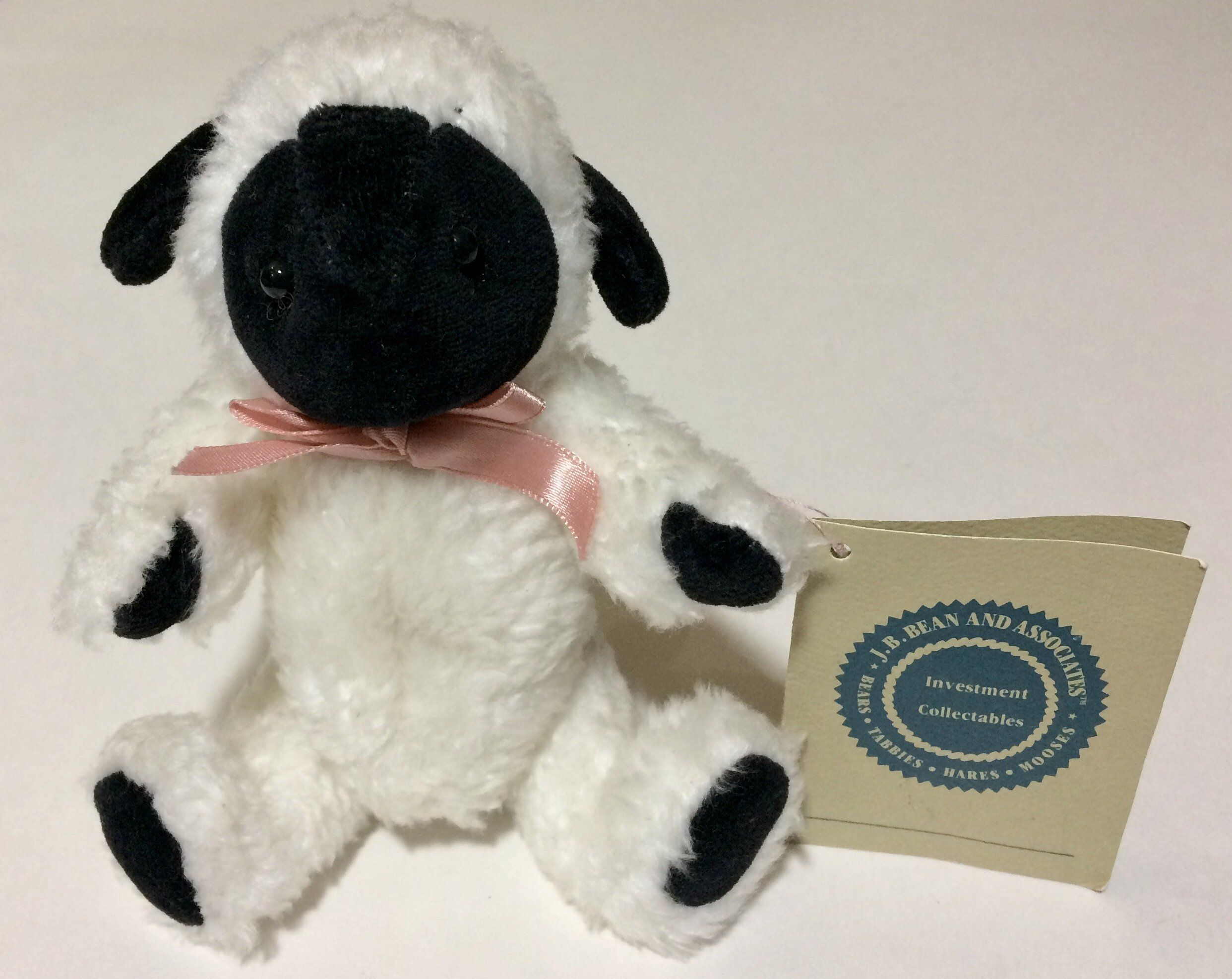 6 boyds collection jb bean white lamb black face ears