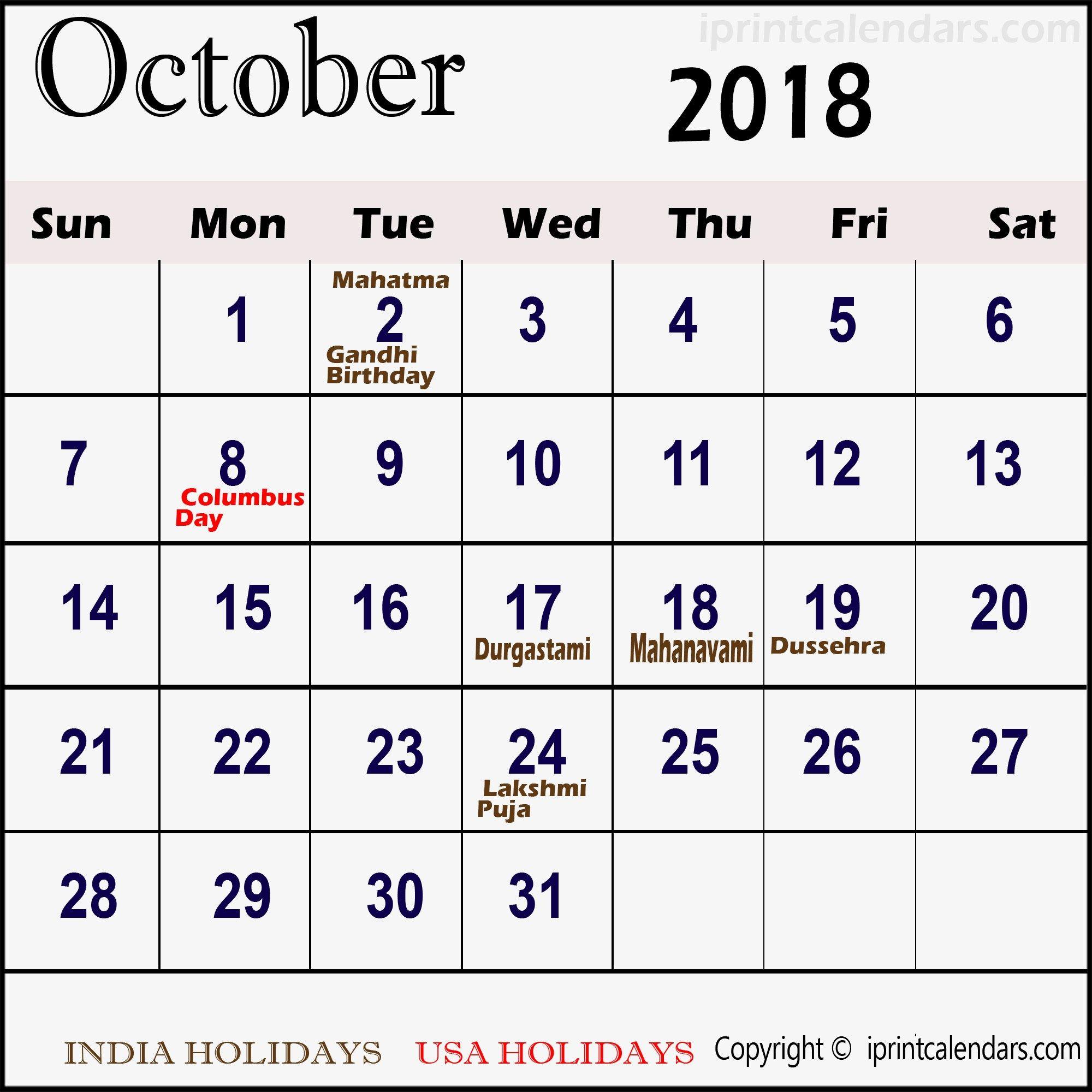 Calendar For October 2018 Malaysia Calendar Printables