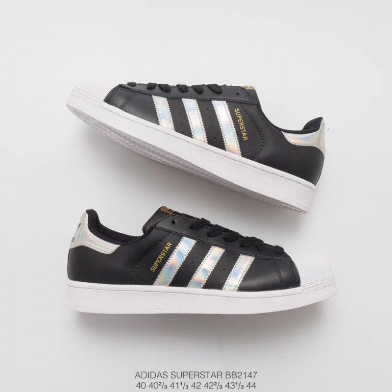 meet 74a10 9cc32 Adidas Superstar Shell Toe Trainers In White And Black ...